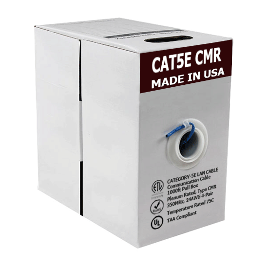 1000ft Cat5e Bare Copper CMR Rated Ethernet Cable
