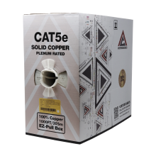 1000ft Cat5e Plenum Bare Copper 23AWG Ethernet Cable