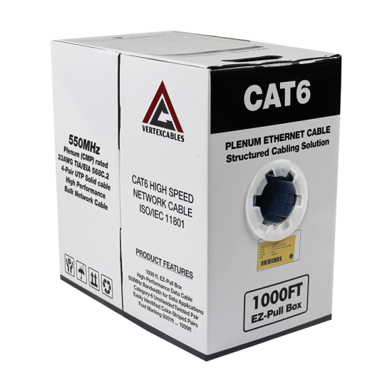 1000ft Cat6 Plenum CMP Rated with 23AWG Solid Conductor