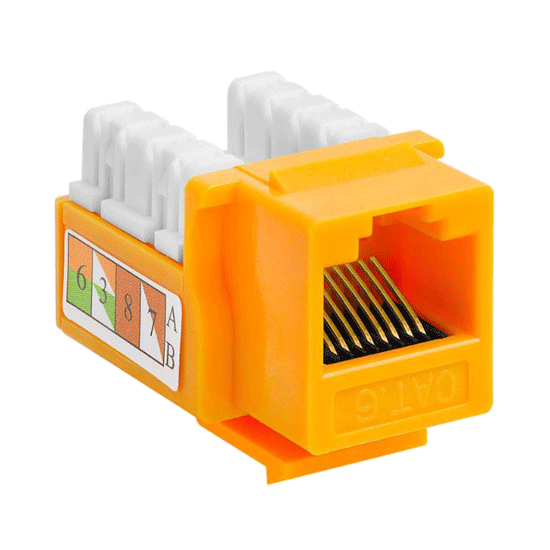 Cat6 Keystone Jack UTP Punch Down RJ45 Yellow